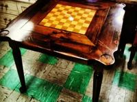 Stylish Game Table Chess Inlay and Chairs Play a