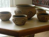 Substantial yet elegant ceramic bowl set: serving bowl