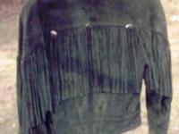 Ladies size M, Suede Leather Jacket,has fringe on front