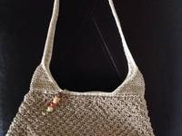 Liz Claiborne natural & black crochet purses: -wooden