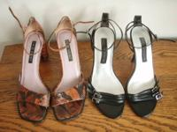 Two pairs of summer sandals for $10. Pair 1: Nine West