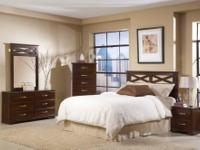 FIVE PIECE BEDROOM SET INCLUDES HEADBOARD,DRESSER,