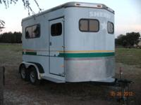 1998 SUNDOWNER ALUMINUM 2 HORSE STRAIGHT LOAD TRAILER.
