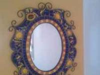 Beautiful Mosaic Sun Flower Mirror and Table.. No