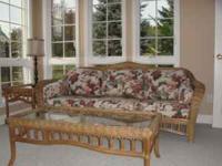 Lane Wicker Sunroom Furniture - Sofa, 2 Chairs, Coffee