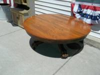 Super good claw foot round oak coffee table ... nice