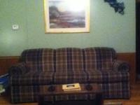 Broyhill series Blue/green/tan plaid couch, really