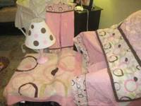 Girls pink&brown polka dot with circles crib or toddler