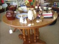 Nice all wood maple table with 2 leaves $140.00 Call: