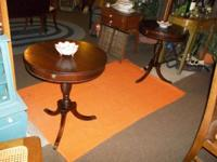 Super great matching pair of mahogany side tables ...