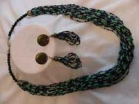 "26"" swag torsade beaded clasped necklace, teal and"