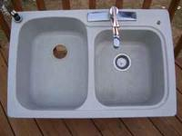 Swantstone double kitchen sink and faucet. Like new. $