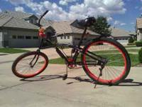 1 Mens Phat Cruiser bike with custom wheels, neon
