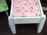 This is a sweet little square bench with a shabby