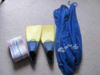 Swim FIns and Pull Buoy with nice draw string swim bag.