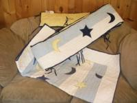 Pottery Barn blanket and crib bumper with stars and