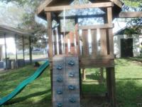 Big Hand Built Swing Set with:.  Monkey Bars. Extended