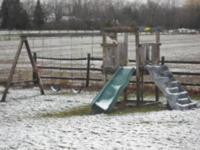 Wooden swing set in good condition, two swings ,