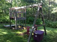 Wooden swing set 2 swings Teeter-totter swing Slide