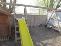 "This swing set is 16' long and 7'8"" high. It has a"