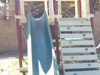 Swing set with slide, Rock climbing, Monkey bars, tree