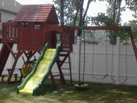 1) Backyard disovery playset which includes wave board,