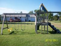 Large playscape for sale: Fort, slide, rock climber, 2