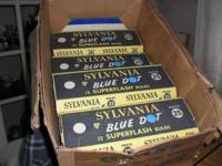 For sale: 7 cartons of Sylvania Press 25 Blue dot flash