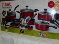 20 Piece set T-Fal Inspirations Red Zone Cookware.