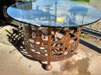 Nice heavy duty wrought iron table with heavy thick 1""