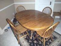 dining/kitchen table and 4 chairs, solid wood ,dark oak