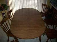 Kitchen/dining table with two leaves, & 6 chairs. Table