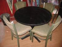 "small black top table 36"" across and 4 chairs great for"