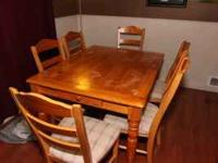 This is a great dining room set. It has one leaf to