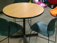 Wood top table with metal legs, three metal chairs