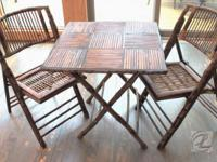 Table Antique SET Bridge Game Table Chair Bamboo Cane