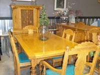 Solid wood antique dining set  Large table with hidden