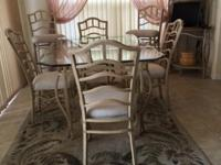 Glass top dining table, 4 chairs, 2 tall stools and