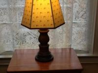 "Flag theme table lamp. Base is 21"" tall made of wood"