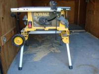 "DeWalt DW744 heavy-duty 10"" job site table saw, 15A,"