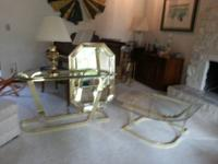 Glass and brass table set - oval coffee table, sofa