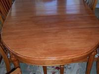 Table w/leaf is 67.5 inch len,37 inch wide. I put oak