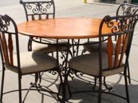 "Lovely 42"" round table with 4 chairs - very good"