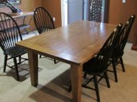 Wood table and four wood chairs E-mail: