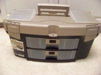 BRAND NEW NEVER USED DELUXE BAIT BOX TACKLE BOX, COMES