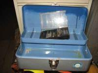 Metal Tackle Box in great shape. 13.5 inches wide, 6