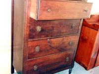 TALL 4-DRAWER WALNUT DRESSER ON CASTORS Strong and