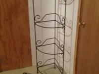 Heavy duty black wrought iron corner stand with
