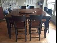 Beautiful tall dining table set, 5' square table with