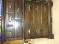 NICE DARK WOOD DRESSER. ALL DRAWERS ARE IN GOOD WORKING